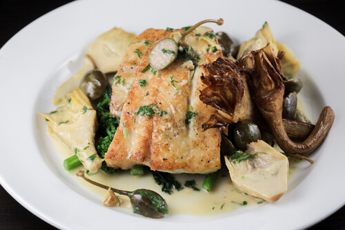 Chicken piccata with artichoke