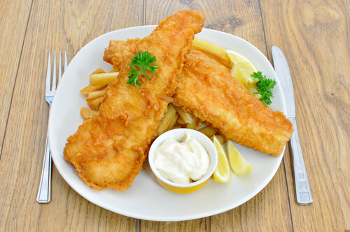 Batter Fried Fish with Cheese Sauce