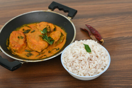 Meen Alleppey Curry with Brown Rice