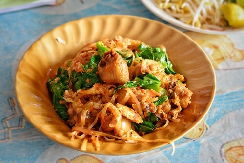 Authentic Pad Thai with dried rice noodles and chicken