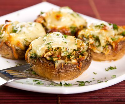 Onion, Cheese Stuffed Mushroom