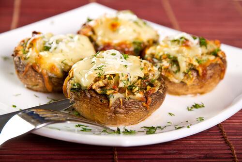Onion, Cheese Stuffed Mushroom