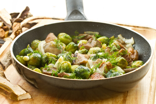 Brussel Sprouts with Mushrooms