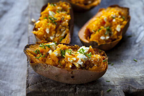 Sweet Potatoes With Curried Tuna And Feta