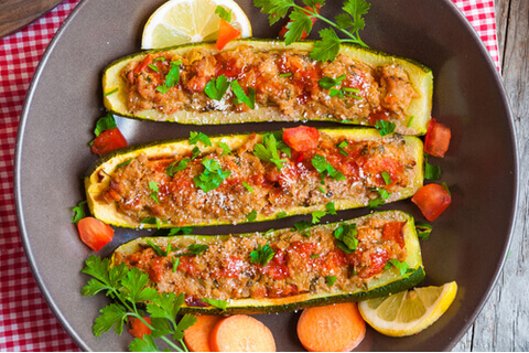 Zucchini Stuffed with Soya